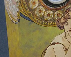Goebel(ゲーベル)ガラスアートクロック「ミュシャのトパーズ」
