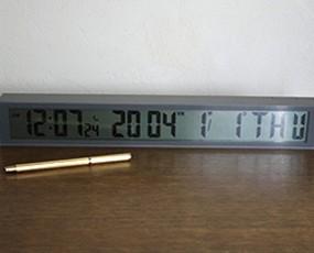 置き時計 目覚まし時計 デジタル 電波時計 カレンダー 掛置兼用 スティック クロック【 SALE在庫限り35%OFF 】 (IDLCR081GY)