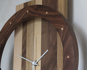 振り子時計 木製 アナログ 天然木  おしゃれ ハンドメイド 寄せ木時計 (PM-0460000MX)