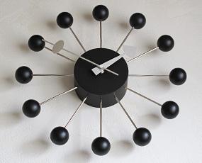ジョージ・ネルソン ミッドセンチュリー掛け時計「ボールクロック・ブラック」 (KC-GN13397BK)