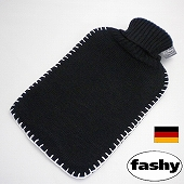 湯たんぽ [ドイツfashy製] シンプルニット湯たんぽ ブラック 2リットル ※特典付! (SSa042BK)